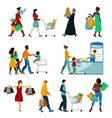 Shopping People Icons Set vector image vector image