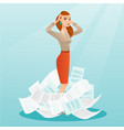 stressed business woman having lots of work to do vector image vector image