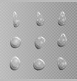 transparent set of drops isolated on vector image vector image