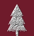 Tree fir xmas on red backdrop made from white vector image