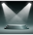two spotlights illuminate the podium with steps vector image vector image