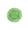 vegetarian natural food sign vegan menu floral vector image vector image