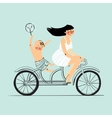 Woman and boy on tandem bicycle Scooter rider vector image vector image