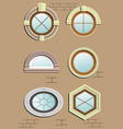 wooden window in the wall vector image