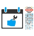 Wrench Service Hand Calendar Day Flat Icon vector image
