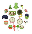 zombie parts icons set cartoon style vector image