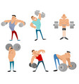 six bodybuilders set vector image