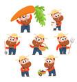 funny farmer gardener character in different vector image