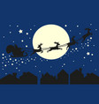 santa claus in sleigh silhouette on blue sky vector image