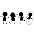 a set of silhouette children vector image