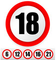 age restriction signs vector image