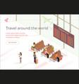 banner travel around world waiting vector image vector image