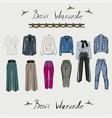 basic wardrobe a minimalist vector image vector image