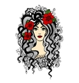 Beautiful woman with red flowers in hair vector image vector image
