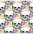 beauty skulls pattern hand drawn seamless vector image vector image