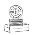 bitcoin hand drawn sketch cryptography vector image