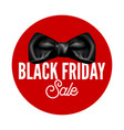 black friday sale promotional logotype with bow of vector image