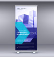 blue business roll up banner design with vector image vector image