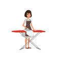 brunette woman ironing clothes on an ironing board vector image vector image