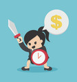 business woman ready to fight hold shield of time vector image vector image