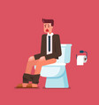 businessman sitting on toilet bowl and suffering vector image