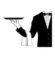 butler holding tray vector image vector image