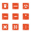 chemical ingredient icons set grunge style vector image