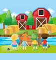 children standing in the farm vector image vector image