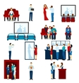 Cinema movie theater flat icons set vector image vector image