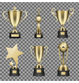 concept of six golden trophy cups for champion vector image vector image