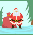 cute santa claus with a bag full of gifts vector image vector image