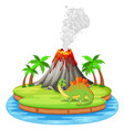 dinosaur and volcano eruption vector image vector image