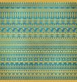 ethnic golden pattern on teal grunge background vector image