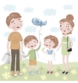 Family Shopping in cartoon style vector image