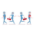 female nurse walking and running vector image vector image