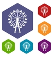 Ferris wheel icons set vector image vector image