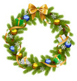 Fir Wreath with Golden Ribbon vector image vector image