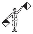 flag signal for letter l vintage vector image vector image