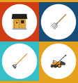 flat icon garden set of hay fork stabling tool vector image vector image