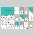 funny white bears family design calendar 2019 vector image