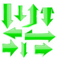 green arrows set folded up and down arrows vector image vector image