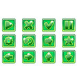 green square collection set glass buttons vector image vector image