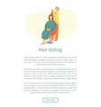 hair styling web poster woman sit and hairdresser vector image