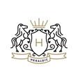 horse coat arms heraldic logo icon vector image vector image