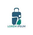 human and travel bag logo design vector image vector image