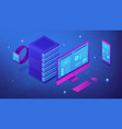 isometric data synchronization concept vector image vector image