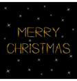 Merry Christmas Gold text Greeting card Sprkles vector image vector image
