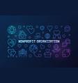 nonprofit organization colorful linear vector image