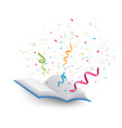 open book with colorful confetti vector image