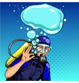 pop art diver showing ok hand sign vector image vector image